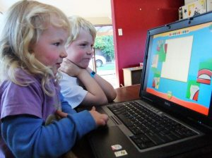 Children using laptop; S Mankelow